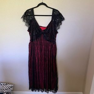 NWOT Red With Black Lace Midi Dress
